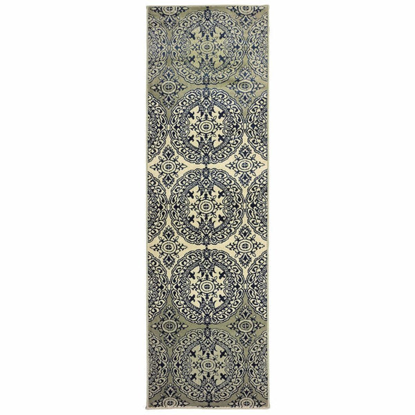 Transitional Rug - Linden Navy Ivory Oriental Medallion Transitional Rug