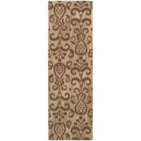 Anastasia Beige Brown Floral Ikat Transitional Rug - Free Shipping