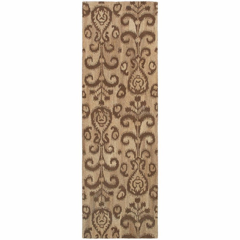 Anastasia Beige Brown Floral Ikat Transitional Rug