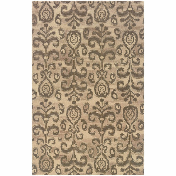 Tufted - Anastasia Beige Brown Floral Ikat Transitional Rug