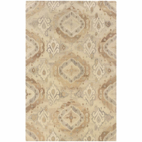 Anastasia Beige Ivory Abstract Ikat Transitional Rug