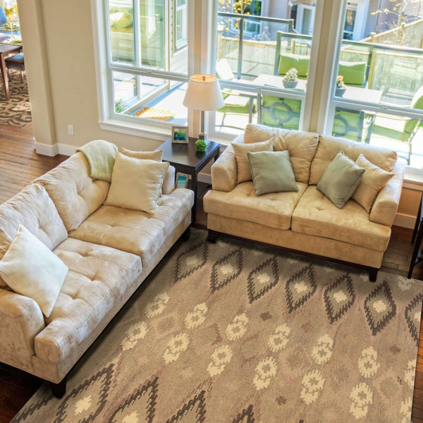 Tufted - Anastasia Beige Ivory Abstract Ikat Transitional Rug