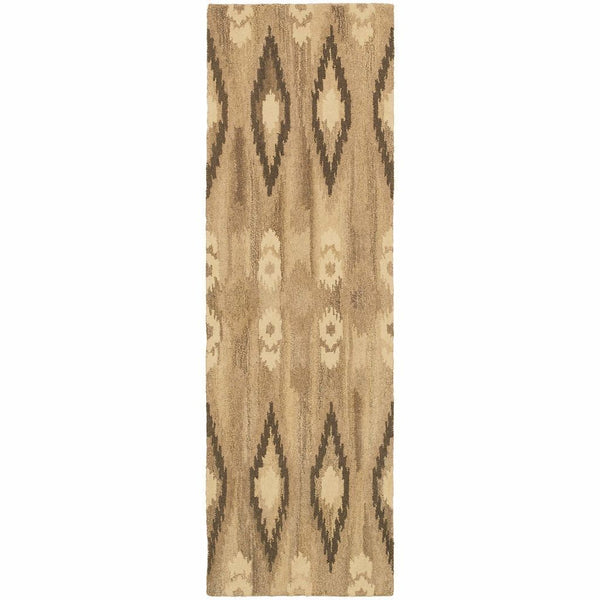Anastasia Beige Ivory Abstract Ikat Transitional Rug - Free Shipping