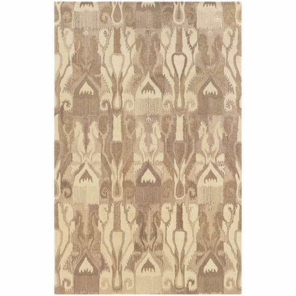 Tufted - Anastasia Beige Tan Abstract Ikat Transitional Rug