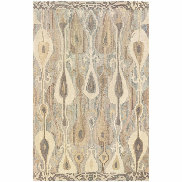 Tufted - Anastasia Grey Beige Abstract Ikat Transitional Rug