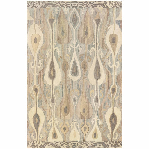 Anastasia Grey Beige Abstract Ikat Transitional Rug