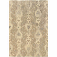 Anastasia Ivory Beige Abstract Ikat Transitional Rug - Free Shipping