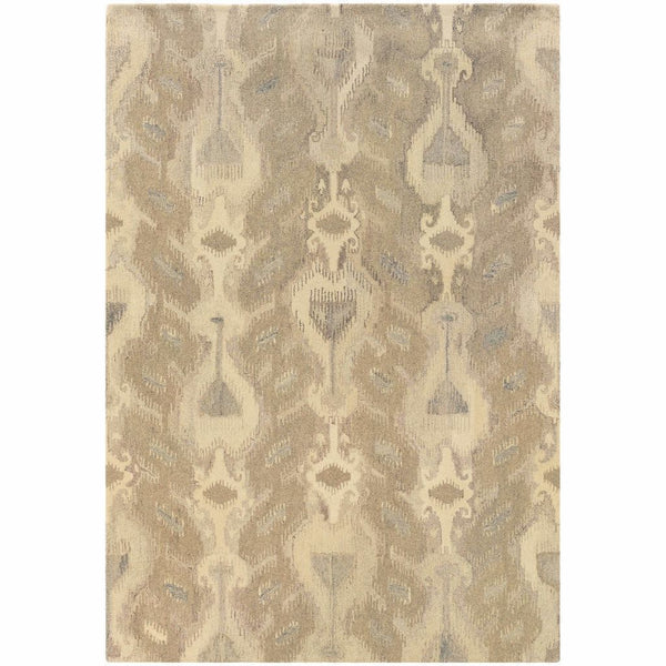 Tufted - Anastasia Ivory Beige Abstract Ikat Transitional Rug