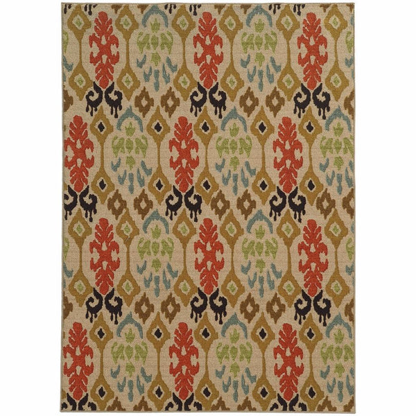 Tufted - Arabella Beige Multi Abstract Ikat Transitional Rug