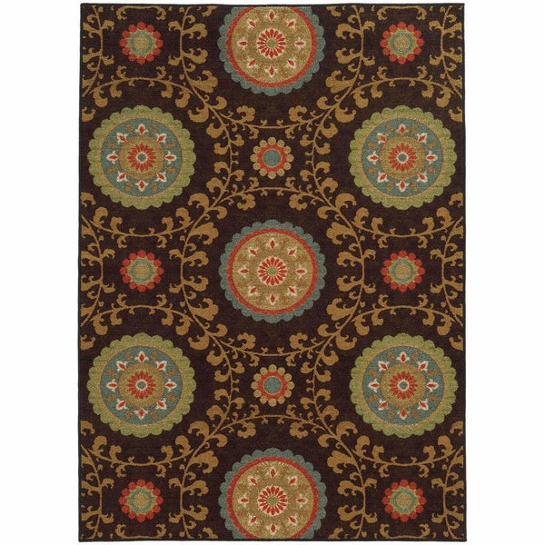 Arabella Brown Multi Floral  Transitional Rug - Free Shipping