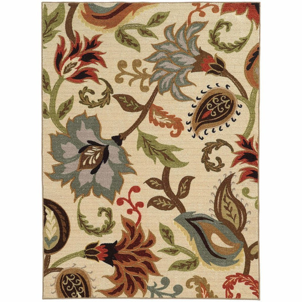 Arabella Ivory Multi Floral  Transitional Rug - Free Shipping