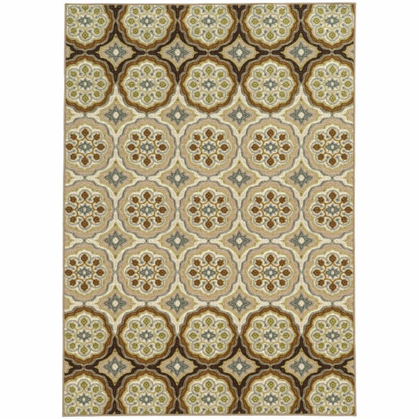 Arabella Ivory Tan Floral  Transitional Rug - Free Shipping
