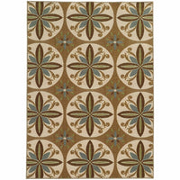 Arabella Tan Ivory Floral  Transitional Rug - Free Shipping