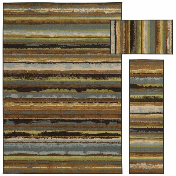 Benton Beige Blue Stripe Distressed Transitional Rug - Free Shipping