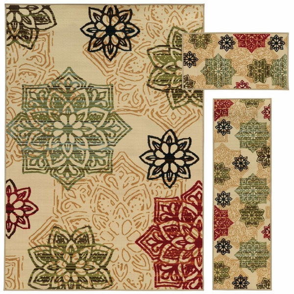 Benton Beige Green Medallion Botanical Transitional Rug - Free Shipping