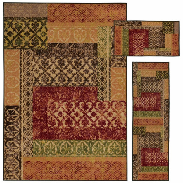 Benton Beige Multi Lattice Distressed Transitional Rug - Free Shipping