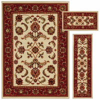 Benton Beige Red Floral Oriental Traditional Rug - Free Shipping