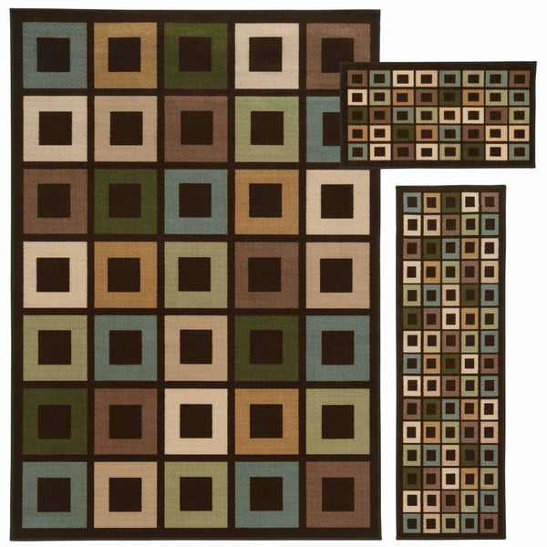Benton Brown Multi Geometric Blocks Transitional Rug - Free Shipping