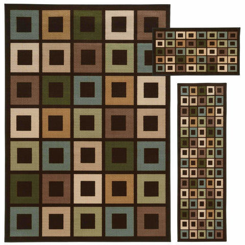 Oriental Weavers Benton Brown Multi Geometric Blocks Transitional Rug