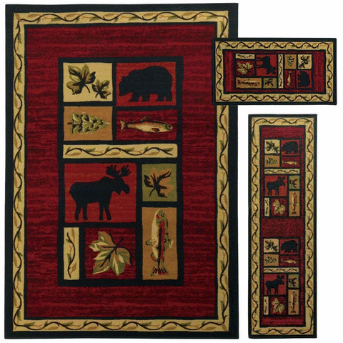 Benton Red Black Animal Southwest/Lodge Transitional Rug