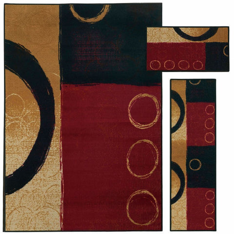 Oriental Weavers Benton Red Black Circles Geometric Contemporary Rug
