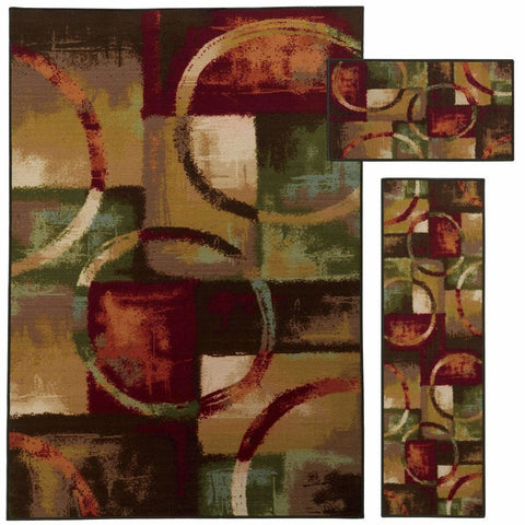 Oriental Weavers Benton Red Multi Circles Geometric Contemporary Rug