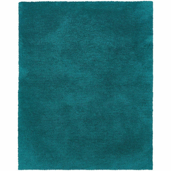 Cosmo Teal  Solid  Shag Rug - Free Shipping