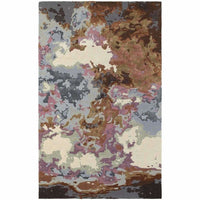 Galaxy Blue Brown Abstract  Contemporary Rug - Free Shipping