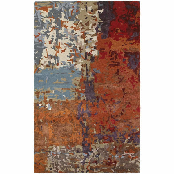 Galaxy Multi Orange Abstract  Contemporary Rug - Free Shipping
