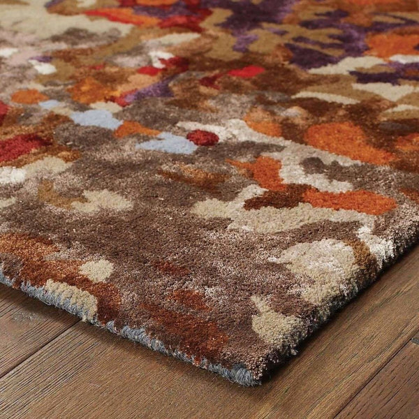 Tufted - Galaxy Multi Orange Abstract  Contemporary Rug