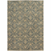 Harper Beige Blue Floral  Casual Rug - Free Shipping