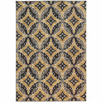 Harper Charcoal Gold Floral  Casual Rug - Free Shipping