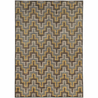 Harper Grey Gold Geometric  Casual Rug - Free Shipping