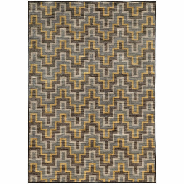 Harper Grey Gold Geometric  Casual Rug