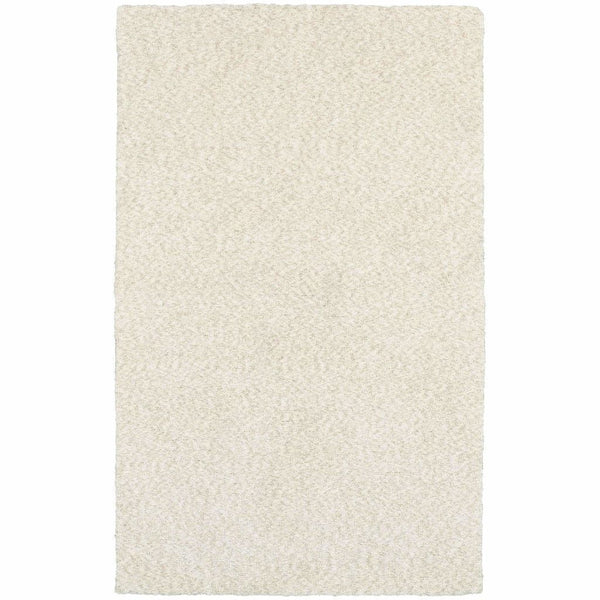 Heavenly Ivory  Solid Heathered Shag Rug - Free Shipping