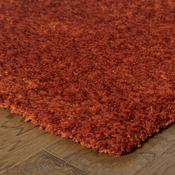 Tufted - Heavenly Red  Solid Heathered Shag Rug