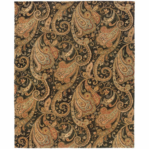 Oriental Weavers Huntley Black Gold Paisley  Transitional Rug