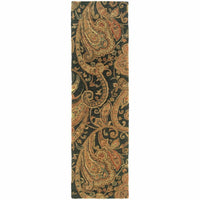 Tufted - Huntley Black Gold Paisley  Transitional Rug