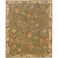 Huntley Blue Ivory Floral Tropical Transitional Rug - Free Shipping
