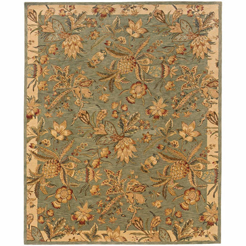 Oriental Weavers Huntley Blue Ivory Floral Tropical Transitional Rug