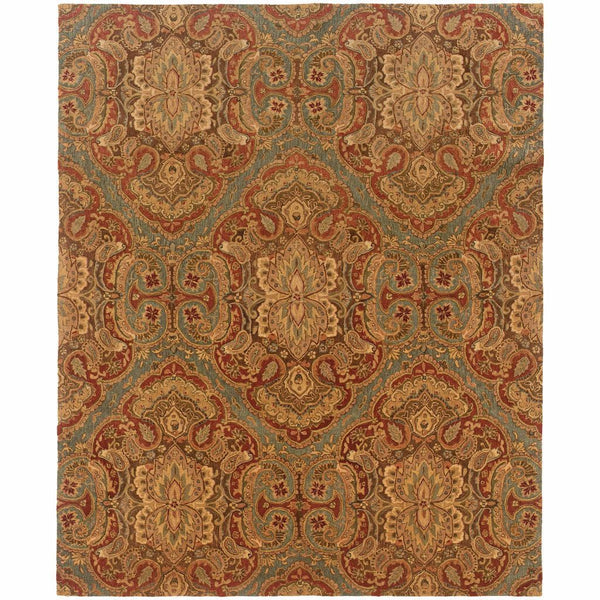 Huntley Blue Rust Floral  Transitional Rug - Free Shipping