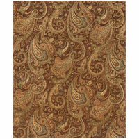 Huntley Brown Gold Paisley  Transitional Rug - Free Shipping