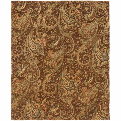 Oriental Weavers Huntley Brown Gold Paisley  Transitional Rug