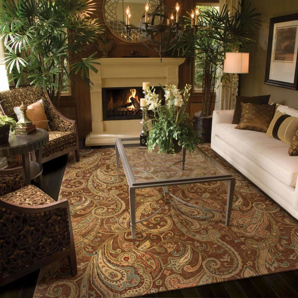 Tufted - Huntley Brown Gold Paisley  Transitional Rug