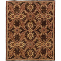 Huntley Brown Rust Floral  Transitional Rug - Free Shipping