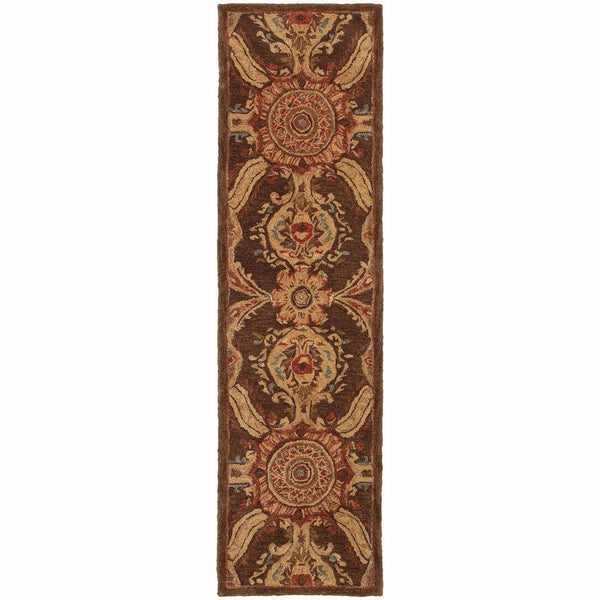 Tufted - Huntley Brown Rust Floral  Transitional Rug