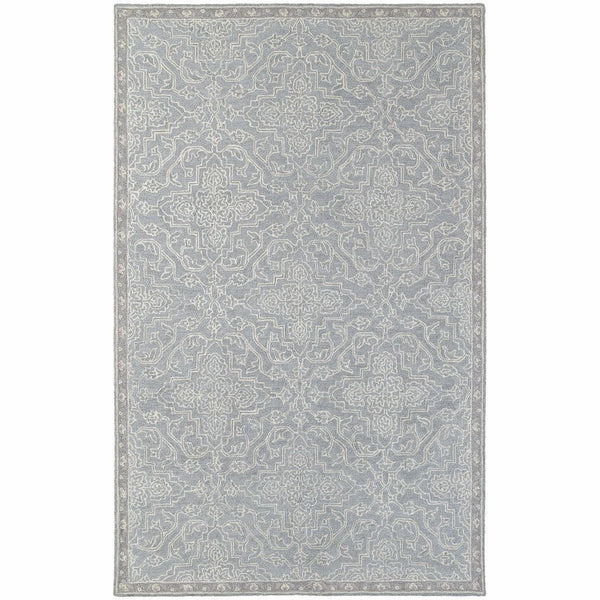 Manor Grey Blue Oriental Medallion Traditional Rug - Free Shipping