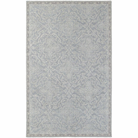Oriental Weavers Manor Grey Blue Oriental Medallion Traditional Rug