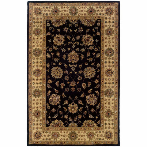Windsor Black Ivory Oriental Persian Traditional Rug