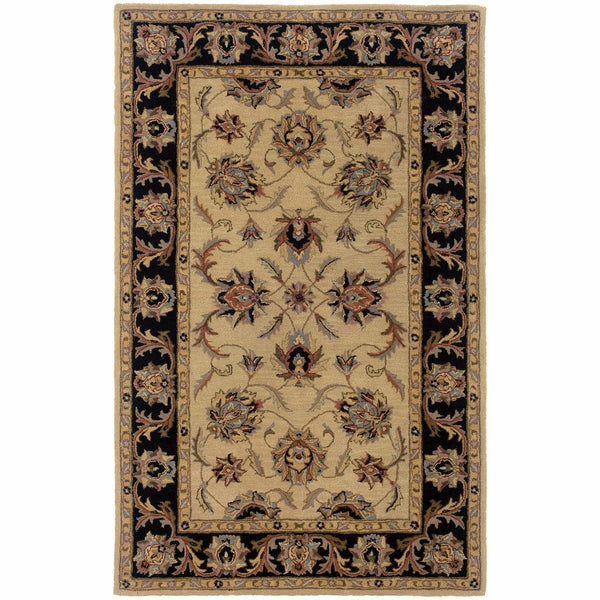 Windsor Ivory Black Oriental Persian Traditional Rug - Free Shipping